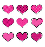 Halftone style hearts collection. Isolated pink hearts with polka dots pattern stock illustration