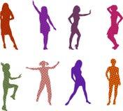 Halftone style women. Women silhouettes in halftone style illustration Stock Photo