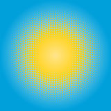 Halftone sun design element. Circle of yellow dots on blue sky background Royalty Free Stock Images