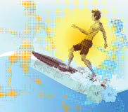 Halftone surfer Royalty Free Stock Photography
