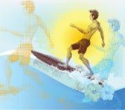 Halftone surfer. Summer scene. Retro vector illustration royalty free illustration