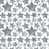 Halftone textured stars seamless pattern, monochrome vector back Stock Photography