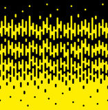 Halftone Transition Seamless Border of Vertical Rounded Melting. Lines. Absract trendy tileable vector pattern in black and yellow vector illustration
