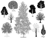 Halftone trees Royalty Free Stock Photography