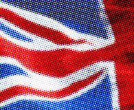 Halftone UK flag. UK flag presented in a halftone effect stock image