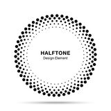 Halftone vector circle frame dots logo emblem, design element for medical, treatment, cosmetic. Round border Icon using halftone circle dots raster texture Royalty Free Stock Images