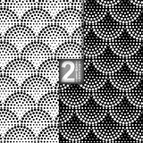 Halftone Vector Seamless Pattern, Set of 2. Halftone Petals Tiles, Vector Seamless Pattern, Set of 2 Stock Photography