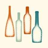 Halftone vector wine bottle elements. Stock Photos