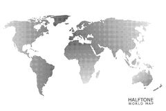 Halftone vector world map. Halftone dotted vector world map in black color with white background Royalty Free Stock Image