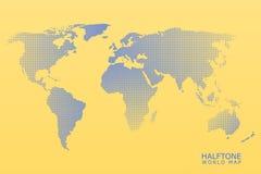 Halftone vector world map Royalty Free Stock Photos