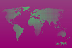 Halftone vector world map. Halftone dotted vector world map in green color with violet background Stock Photos