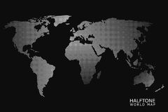 Halftone vector world map. Halftone dotted vector world map in white color with black background Royalty Free Stock Photo