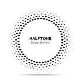 Halftone vectorembleem van het de puntenembleem van het cirkelkader ovale, ontwerpelement voor medisch, behandeling, schoonheidsm Royalty-vrije Stock Afbeelding