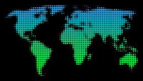 Halftone World Map. Halftone round blot World Map. Vector geographic map in green-blue gradient colors on a black background. Vector composition of World Map Stock Photo