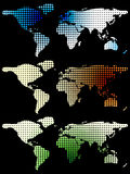 Halftone world maps over black Royalty Free Stock Image