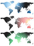 Halftone world maps over white Royalty Free Stock Photography