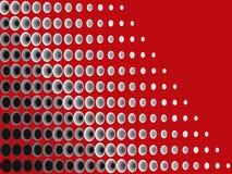 Halftone zwart grijs op rood Stock Afbeelding