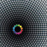 Halftoned dots circle mosaic background Stock Images