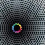 Halftoned pontilha o fundo do mosaico do círculo Imagens de Stock