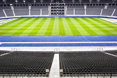 Halfway line at a soccer stadium Royalty Free Stock Photos