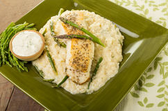 Halibut with asparagus risotto on green plate Royalty Free Stock Photo