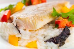 Halibut. Fish dinner dinners food foods vegetables Stock Photos