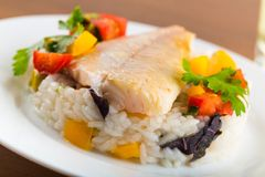 Halibut. Fish dinner dinners food foods vegetables Royalty Free Stock Images