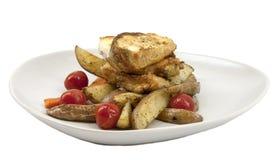 Halibut fritto con le verdure Fotografia Stock