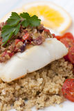 Halibut with Olive Tapenade Crust Royalty Free Stock Image