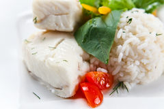 Halibut with  rice Royalty Free Stock Photography