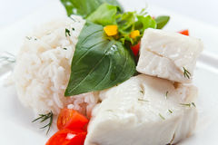 Halibut with  rice Royalty Free Stock Photos