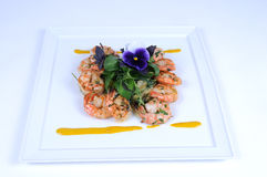 Halibut and shrimps - fine meal Royalty Free Stock Images