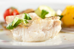 Halibut Steak and Vegetables Royalty Free Stock Photos