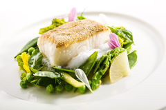 Halibut Steak and Vegetables Stock Photo