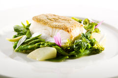 Halibut Steak and Vegetables Stock Image