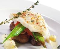Halibut on Vegetable Stock Image