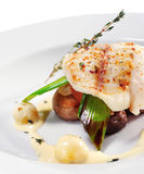 Halibut on Vegetable with Sauce Royalty Free Stock Photography