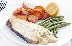 halibuta świeży stek zdjęcie stock