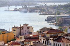 Halic shipyard area. Historic dockyard along Goldenhorn used to renovation of ships owned by city lines. It founded in 1861 by the Ottoman Maritime Company and Royalty Free Stock Image