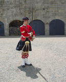Halifax citadel. Historic old fort tourist attraction. highlander  soldier highlander uniform rifle salute drill Royalty Free Stock Image