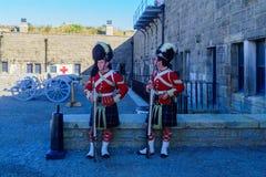 Halifax citadell, med soldater i traditionella likformig arkivfoto