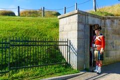 Halifax citadell, med soldater i traditionella likformig arkivbilder
