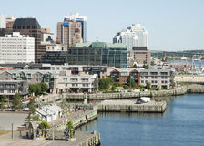 Halifax City Promenade. The view of Halifax city promenade with a downtown in a background Nova Scotia, Canada royalty free stock images