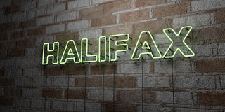 HALIFAX - Glowing Neon Sign on stonework wall - 3D rendered royalty free stock illustration Stock Image