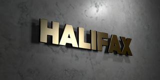 Halifax - Gold sign mounted on glossy marble wall  - 3D rendered royalty free stock illustration Royalty Free Stock Images