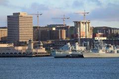Halifax hamn, NS - sikt av hamnframdelen Royaltyfria Foton
