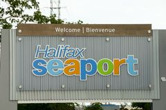 Halifax hamnstadtecken - Nova Scotia - Kanada Arkivbilder