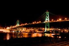 Halifax MacDonald Bridge. At night royalty free stock photo