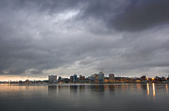 Halifax in the morning. Halifax skyline from the shores of neighboring Dartmouth early in the morning Royalty Free Stock Images