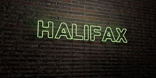 HALIFAX -Realistic Neon Sign on Brick Wall background - 3D rendered royalty free stock image Royalty Free Stock Images